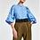 Thumbnail: Essentiel Zeatle Blauw Popeline hemd met versierde pofmouw