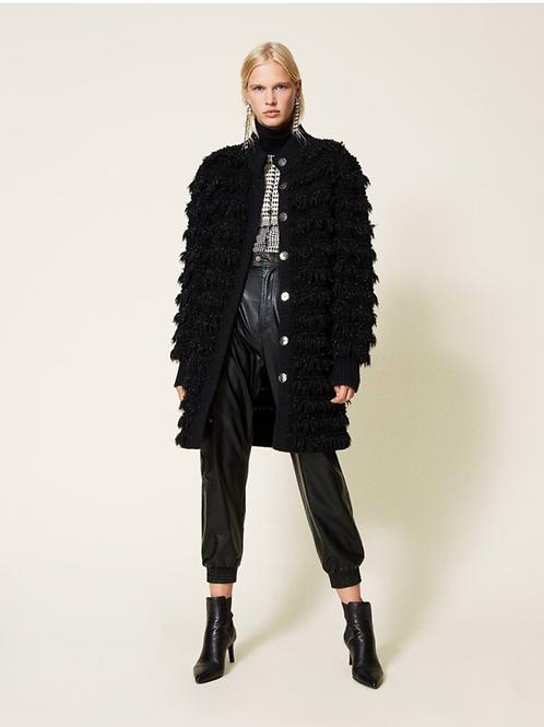 Coat With Fringes 212TT3060 Black 00006