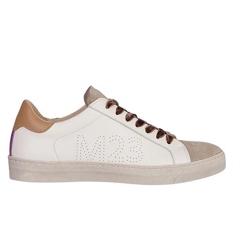 Star Sneaker Off White +camel+Lila Glitter