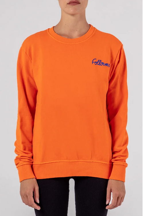 Follovers Kourtney Orange  CrewNeck Sweater