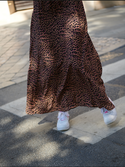 Lee And Mee Chilly Long Skirt Leopard