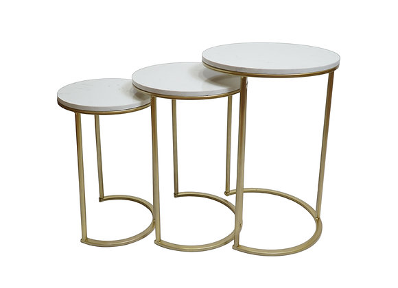Round Metal & Stone Tables (Set of 3)