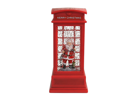 """8"""" Phone Booth Santa Water Globe with LED Lights"""