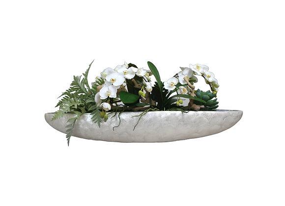 White Orchid Arrangement in Capiz Long Bowl