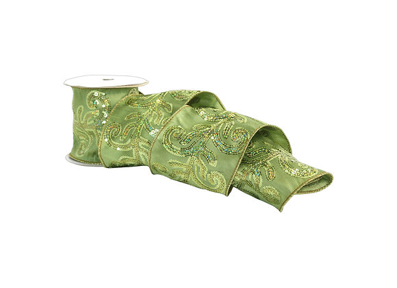"""4"""" x 5 Yd Sequin Leaf Embroidered on Green Dupioni Ribbon"""