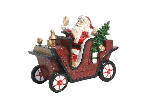 "10"" Resin Santa in Antique Car"
