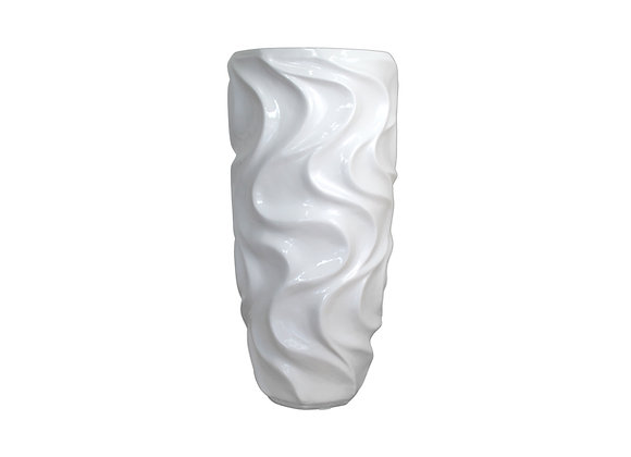 White Resin Vase with Waves Pattern (Cylinder Shaped)