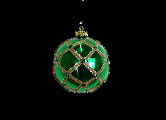100mm Green & Gold Glitter Jewel Ball Ornament