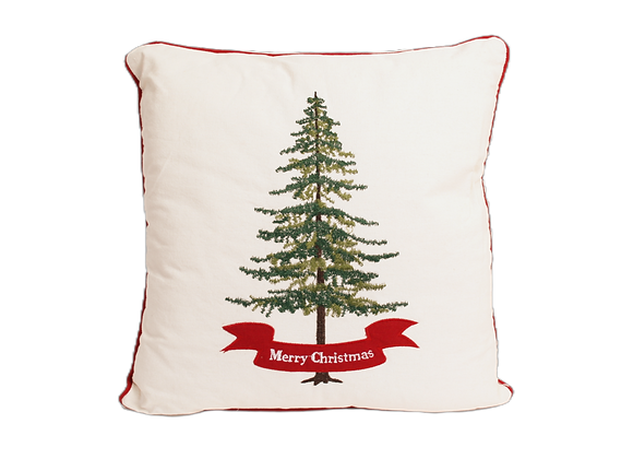 """16"""" x 16"""" Pillow with Embroidered Christmas Tree"""