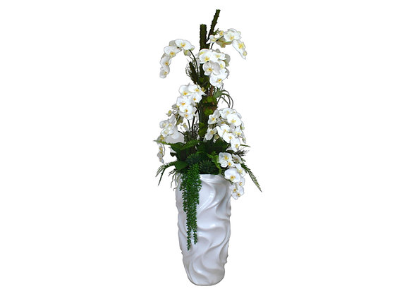 White Orchid with Artificial Trunk in White Resin Vase (Waves Pattern)