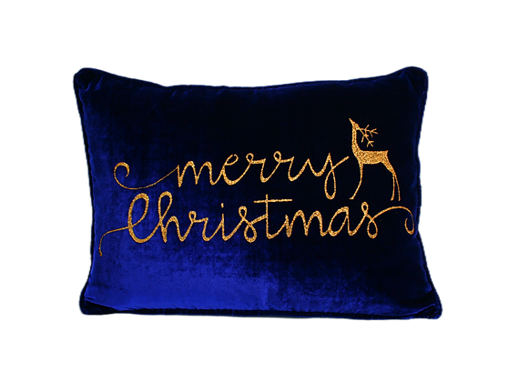 "19"" x 13"" Pillow with Merry Christmas & Deer Glitter"