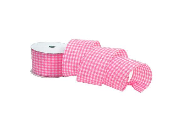 "2.5"" x 10 Yd Glitter on Pink Woven Ribbon"