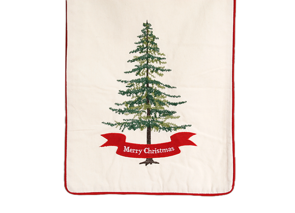 """72"""" Table Runner with Embroidered Christmas Tree"""