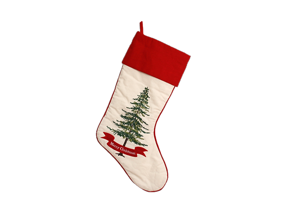 """15"""" Stocking with Embroidered Christmas Tree"""