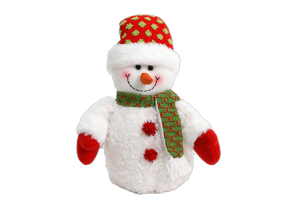 """13"""" Snowman with Green Scarf"""