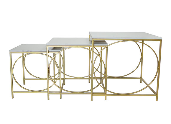 Square Metal & Stone Tables (Set of 3)
