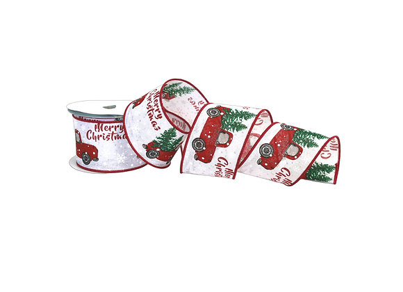 """2.5"""" x 10 Yd Merry Christmas Truck with Tree Ribbon"""