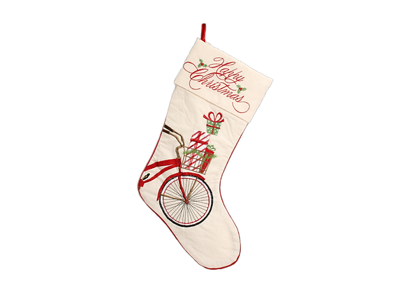 """21"""" Stocking with Embroidered Bicycle"""