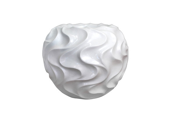 White Resin Vase with Waves Pattern (Sphere Shaped)