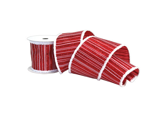 "4"" x 10 Yd Red Glitter Stitch Linen Ribbon with Fur Edge"