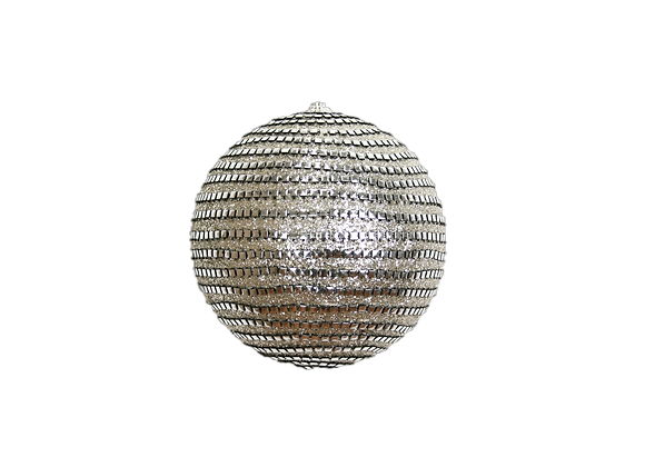 175mm Metallic Gatsby Striped Ball Ornament