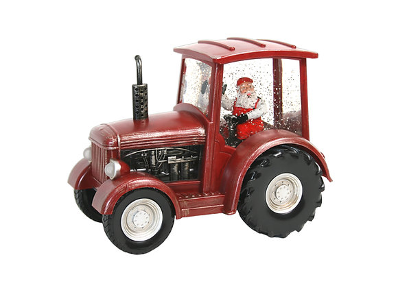 """9"""" Red Tractor Santa Water Globe with LED Lights"""