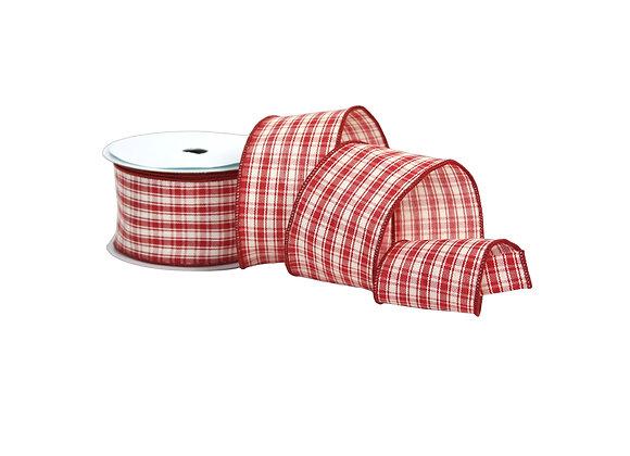 "2.5"" x 10 Yd Red Checkered Ribbon"