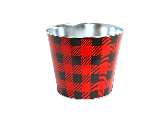 Galvanized Checkered Pot
