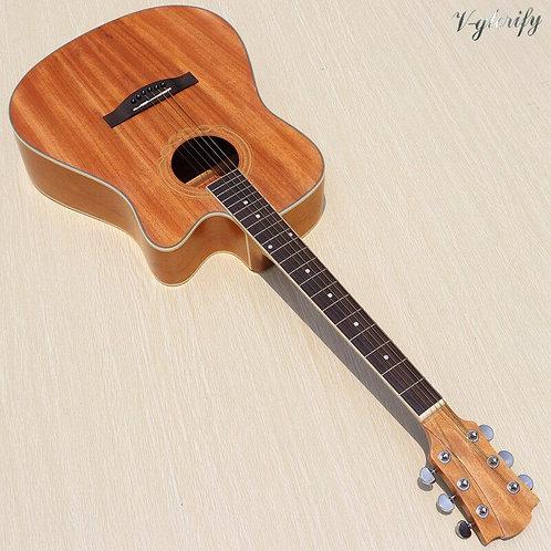 41 Inch Natural Color Acoustic Guitar Cutaway Design