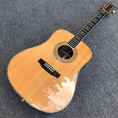 Custom Solid Cedar Real Abalone Cocobolo Wood Acoustic Guitar