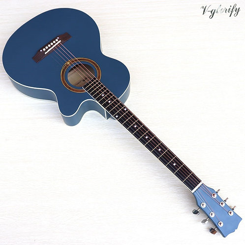 39 Inch Blue Full Basswood Body Acoustic Electric Guitar 6 String Folk Guitar
