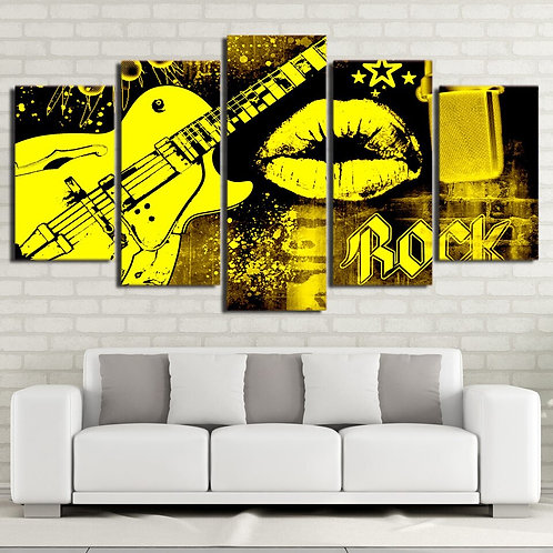 Hot Sale 5 Pieces Guitar Rock Music  Canvas Painting