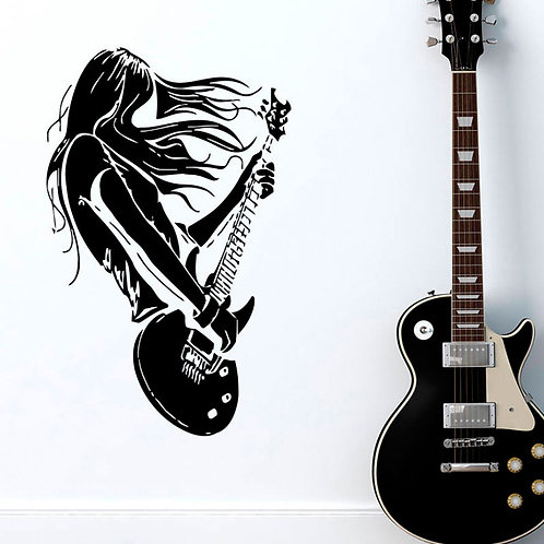 Rock Character Guitar Music Enthusiasts Wall Decal
