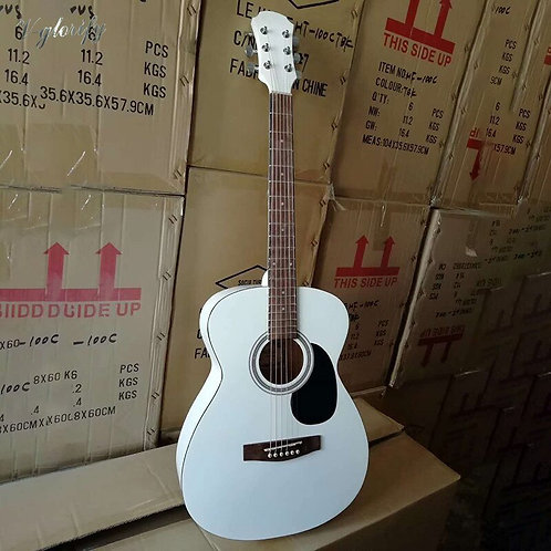 White Color 41 Inch Electric Acoustic Guitar High Gloss