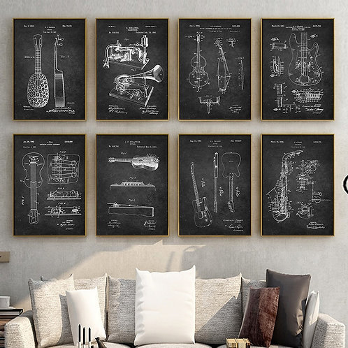 Guitar Musical Instruments Poster Canvas Painting Minimalist