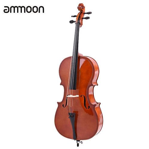 Ammoon 4/4 Full Size Wooden Cello Gloss Finish Basswood