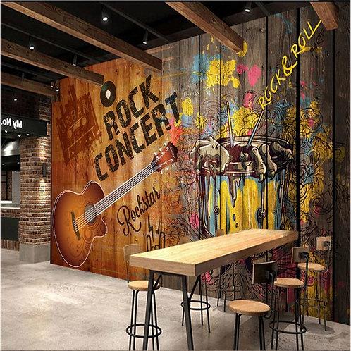 Nostalgic Fashion Guitar Rock Concert Theme Wall Paper