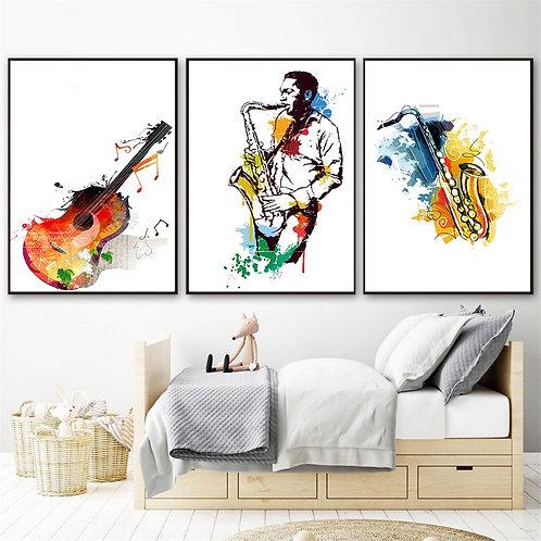 Watercolor Music Saxophone Guitar Canvas Paintings