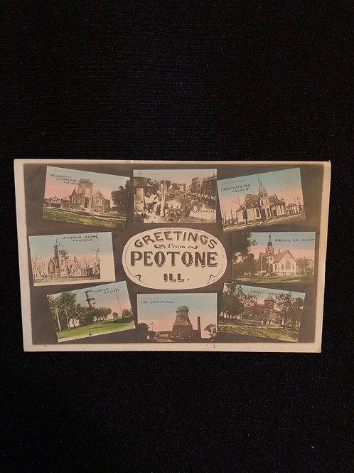 Peotone Illinois - 8 views of town colorized RPPC