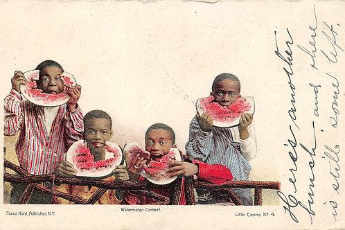 4 boys eating watermelon 1905