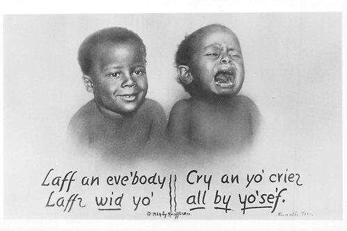 Black babies laugh & cry RPPC