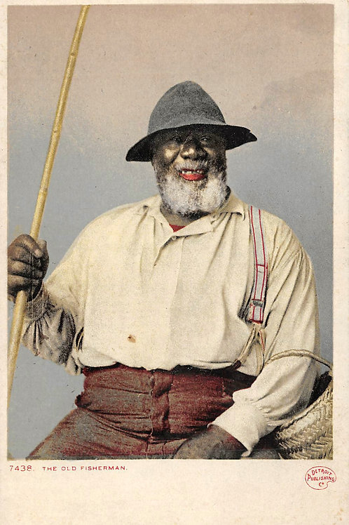 Fisherman with bamboo pole Detroit Publishing card