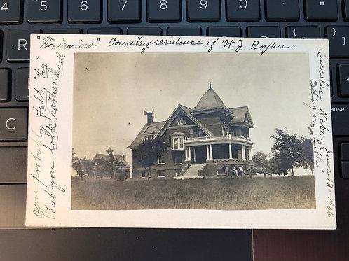 Lincoln ,Nebraska  Residence of H.J Bryan called Fairview 1906