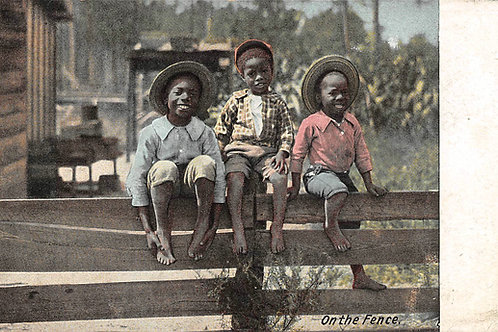 3 boys sitting on the fence 1909