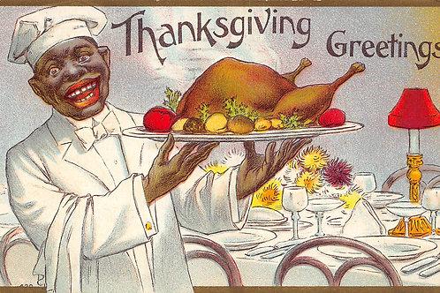 Thanksgiving turkey cook presenting dinner 1909