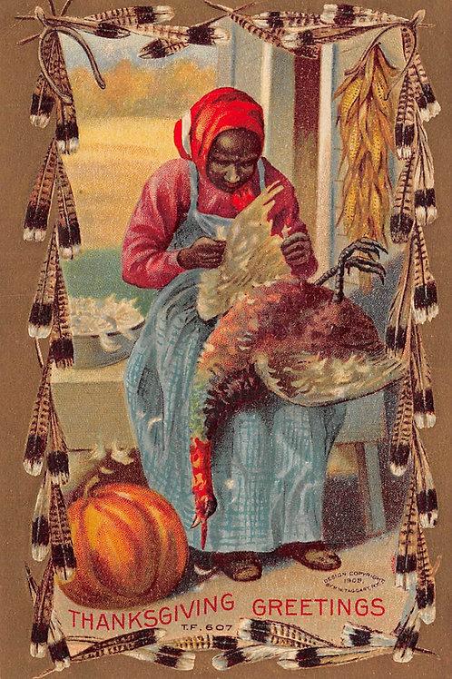 Thanksgiving turkey plucking woman 1909