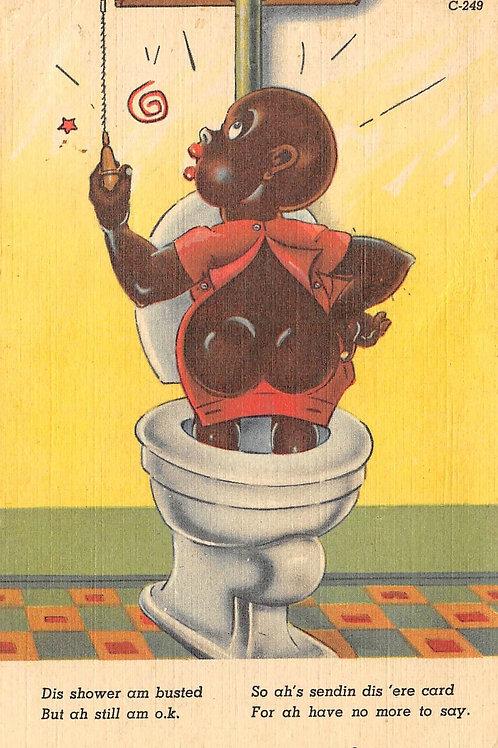 Girl in toilet pulling handle