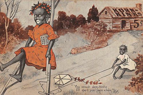 Advertising Korn Kinks stilts kite 5 cents on house 1907
