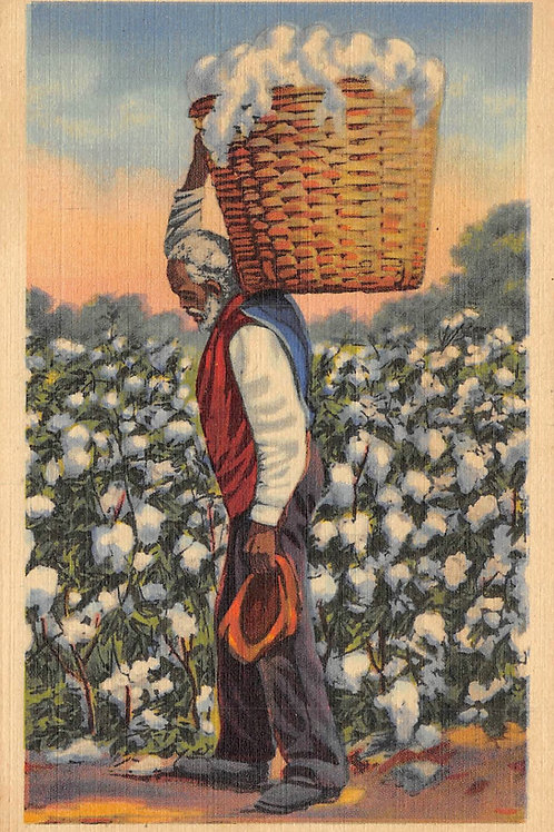 My Heart turned back to Dixie - man with load of cotton in basket