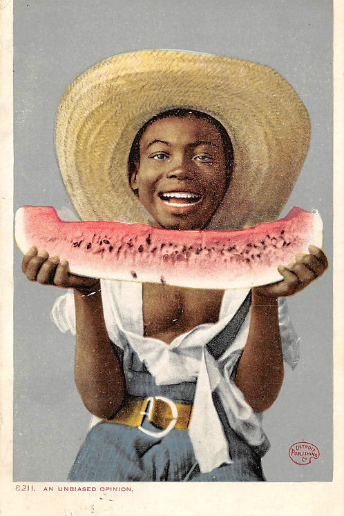 Unbiased opinion boy with hat eating watermelon